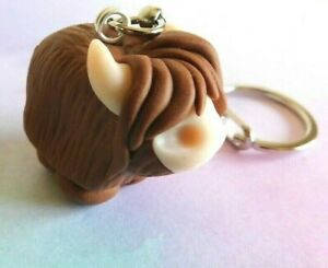 Highland Cow Keyring, Novelty gift, Christmas Stocking filler, NEW, Cute, Animal