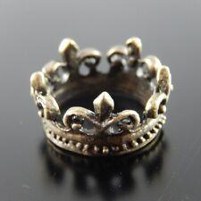 20pcs Antique Style Bronze Tone Alloy Flower-de-lis Crown Ring Charms 18*18mm