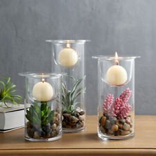 Cylinder Glass Candle Holder/Vase w Decorative Cobblestones & Artifical Plants