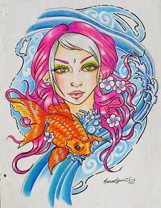 ORIGINAL ARTWORK FANTASY KOI CARP PINK HAIRED GIRL  by MORTIMER SPARROW