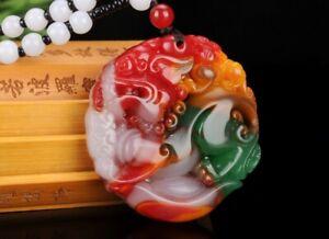 China hand carved jade Gobi Natural Jade fengshui Safety Pendant Necklace