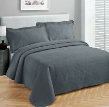 King size 3 pc Solid  Embossed bedspread Bed Cover New Over size Charcoal