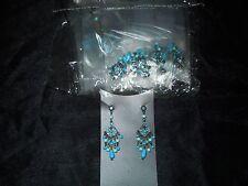 1 Doz Fashion Dangle Earrings, Costume, Blue Gems&Beads, New, Pkg/Display Cards.