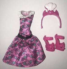 Monster High Vampire Kitchen Draculaura Doll Outfit Bat Dress Headband Shoes NEW
