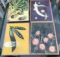 Vintage Vegetable Prints set of 4 Pop Art 8 x 10
