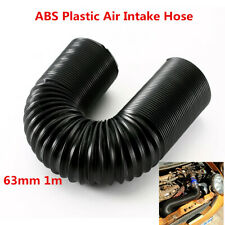 ABS Plastic Black Car Cold Air Feed Ducting Hose Pipe Kit For 63mm ID x 1m Long