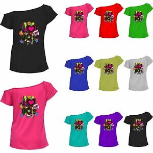 Womens Off Shoulder I Love The 80s Printed T Shirt Ladies Novelty Outfit Top
