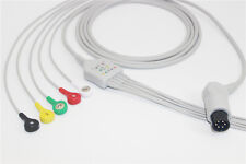 General 6 pins one-piece ECG cable, snap, 5 leads, IEC