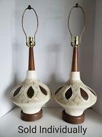 "1 Vtg Mid Century Modern PLASTO plaster & wood Genie Table Lamp no shade 29"""