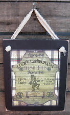 Lucky Leprechaun Irish Pub Hanging Wall Sign Plaque Primitive Rustic Lodge Cabin