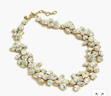 J Crew Crystal Cluster Stone Necklace NWOT Crystals Gold Htf