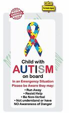 Autism Child On Board With Autism Safety Awareness Decal / Sticker WARNING