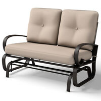 Glider Outdoor Patio Rocking Bench Loveseat Cushioned Seat Steel Frame Furniture
