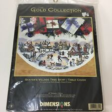 Dimensions Gold Collection Skater's Village Tree Skirt Table Cover Cross Stitch