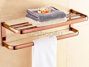 Rose Gold Brass Wall Mounted Towel Rail Holder Storage Rack Shelf Bar Uba865