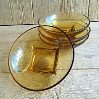 Hazel Atlas Hazelware Pebbletone Bowls Honey Colored Amber Glass Vintage