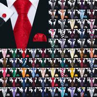 Herren Seide Paisley Gestreifte Rot Blau Schwarz Krawatte Set Mit Einstecktuch