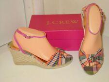 J. Crew Amelia Pink & Orange Plaid Espadrilles Platforms Wedges Shoes Womens 10