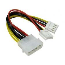 "5.25"" 4 Pin Molex to 2x 3.5"" Floppy Drive Plugs FDD Power Splitter Adaptor Cable"