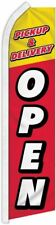"""Pick Up & Delivery Open"" super flag swooper banner advertising sign"