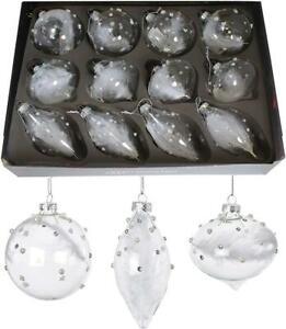 Premier Decorations 80-110mm Clear White Christmas Bauble (Single)