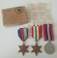 WW2 Italy Star Medal Group & Box of Issue to MR D Riley, Accrington, Lancashire