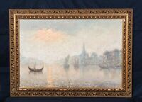 Huge 19th Century Impressionist European River City Landscape At Night Signed