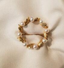 14k yellow gold wreath pearl brooch pin