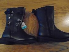 NWT baby/toddler girl black boots with flower & butterfly detail.UK 4. Matalan