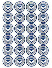 24 x Melbourne Victory Cupcake Toppers Soccer Ball Edible Image Birthday Party