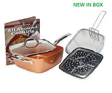 NEW Copper Chef 5 Piece 9.5 Inch Square Deep Fry Pan Set Lid Cookware + *GIFT*