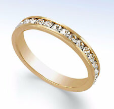 Gold-Tone CRYSTAL Channel Band RING - Size 8