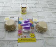 Wilton Cupcake Cake Decorating Set Kit  3 Jumbo Tips Bags Baking Cups Jimmies