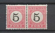 Nederlands Indië Port  6 C + B II postfris tandingspaar (1)