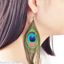 1Pair Fashion Women Bohemia Peacock Feather Earrings Dangle Style Studs Earrings
