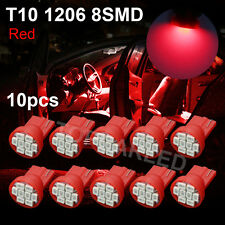 10X Ultra Red T10 1206 8SMD 3020 LED Car Dashboard Light bulb W5W 194 168