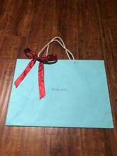 """Authentic TIFFANY &CO. Blue """"Large"""" Paper Shopping Gift Bag with Red  Ribbon"""