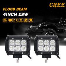 "2x 4"" 18W Cree LED Work Light Flood Beam Offroad Car Driving Lamp 4×4WD ATV AWD"