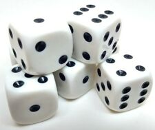 Dice 16mm WHITE with black spot. 6 sided standard. Board and Wargame