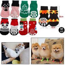UK Medium Size Animal Pet Dog Puppy Cat Striped Flexible Christmas Cotton Socks