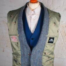 42R HARRIS TWEED Blazer Jacket Vintage Blue Herringbone Hacking Wedding #431