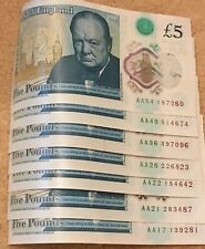 AA £5 Five Pound x 7 Notes Polymer Set New