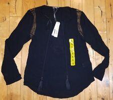 NWT Women's Black JOSEPH A. L/S Crinkle Boho Tassel Blouse Size Small S