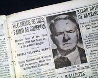 W. C. FIELDS William Claude Dukenfield ACTOR Comedian DEATH 1946 Old Newspaper