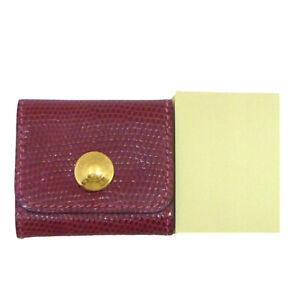 Authentic HERMES Post-it Case Lizard Bordeaux Leather #W505015