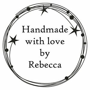 PERSONALISED HANDMADE BY RUBBER STAMP BESPOKE WITH YOUR NAME AND STARS DESIGN