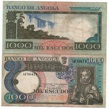 ANGOLA PORTUGUESE 1000 ESCUDOS 1973 PICK 108 USED