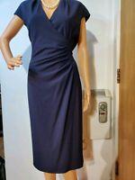 L.K BENNETT DR MARLENE RUCHED DRESS SIZE UK 16 US 12 NAVY BLUE 68% POLYESTER VIS