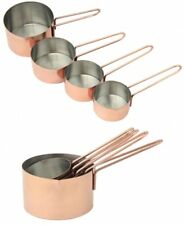 Set of 4 Stainless Steel Copper Finish Measuring Cups Kitchen Baking Cooking New