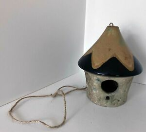 "Ceramic Hanging Birdhouse Round Hut Natural Folk Bird Feeder 7"" Black Tan"